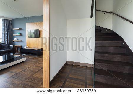 stairs in luxury duplex apartment . wood flooring