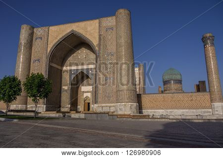 The Large Complex Of Bibi-khanym Mosque With The Beautiful Bright Blue Domes, Rich Mosaic Decoration
