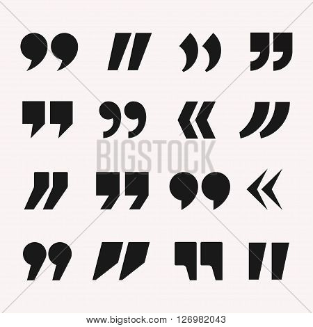 Quotes icon vector set. Quote marks black symbol. Quotation marks isolated from background. Quotes design in flat style. Quotes template collection.