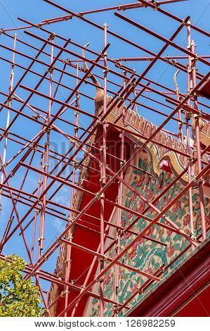 Buddhist Temple Renovation Bangkok Thailand Closeup at facade of building