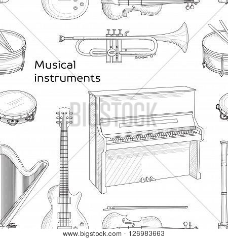 Musical instruments pattern. Big collection of vector music instruments. Vector illustration, EPS 10