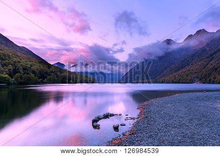 Lake Gunn At Sunrise, Fiordland, New Zealand