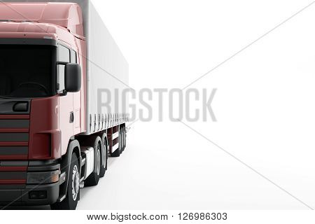 New CG 3d render commercial delivery truck isolated on white background