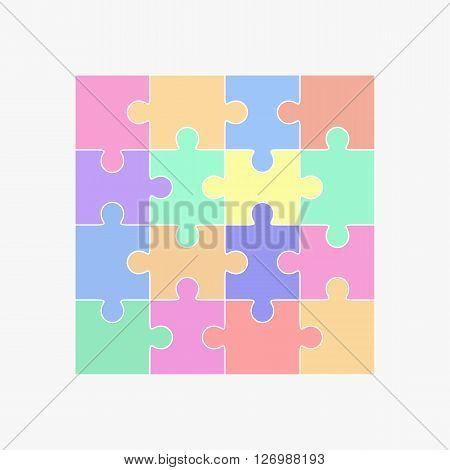 Jigsaw puzzle vector blank simple template sixteen elements