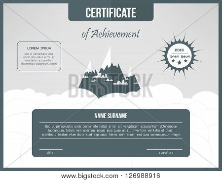 Certificate template for achievement. Gray certificate design with mountains and clouds. Web cetrification design layout.