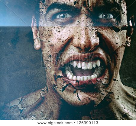 Scary Angry Man with Dry Peeling Skin