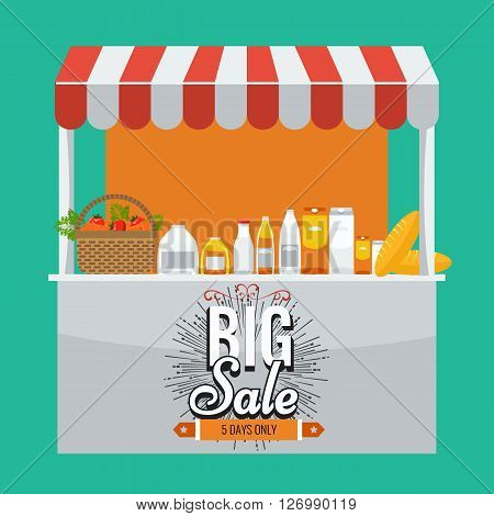 Shop, grocery and shopping concept. Store booth with striped awning, fruits, vegetables, drinks, bread and basket with full of organic food on the display shelf. Big sale title on it. poster