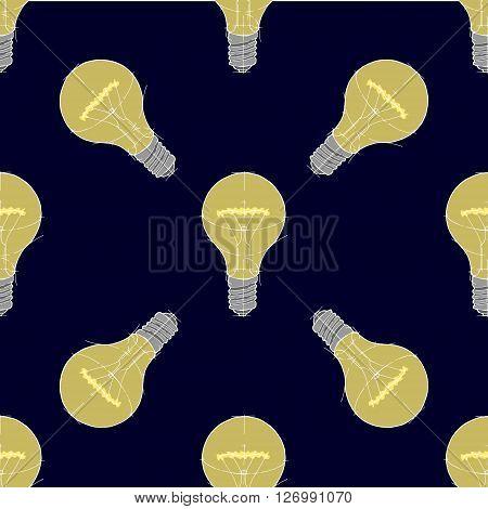 Lightbulb seamless background pattern. Hand drawn vector stock illustration