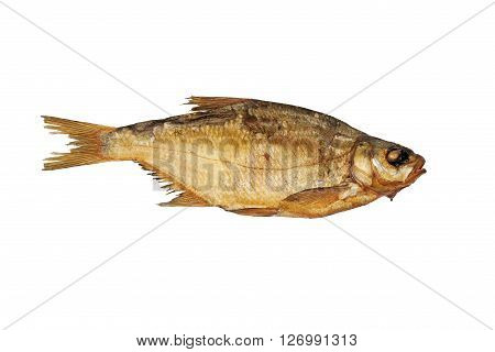 Smoked fish bream. Isolated on white background.