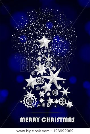 Christmas And New Year Abstract With Christmas Tree Made Of Stars And Snowflakes With Firework On Da