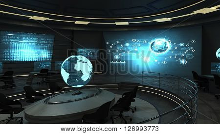 Futuristic interior view of dark office with holographic screens. 3d render