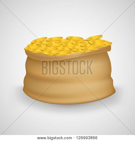 Bag of coins. Bag of money. Sack with full gold coins in it. Sack of coins. Gold coins. Sack full with gold coins. Isolated bag of coins. Sack of coins isolated on white background.