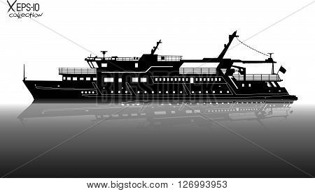 Silhouette Of Touristic Pleasure Boat Sailing On The River With Reflection On Water Black And White.