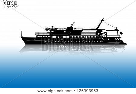 Silhouette Of Touristic Pleasure Boat Sailing On The River With Reflection On Water. Vector Illustra