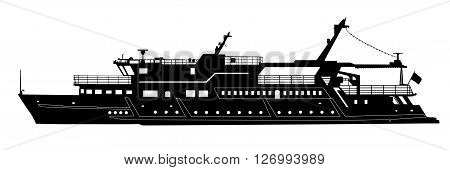 Silhouette Of Touristic Pleasure Boat Isolated On White. Vector Illustration