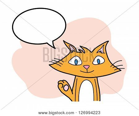 Cat Cartoon, a hand drawn vector cartoon illustration of a smiling cat with blank narration bubble, isolated on a simple background (editable).