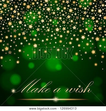 Vector Abstract Shining Falling Stars On Green Ambient Blurred Background. Luxury Design. Vector Ill