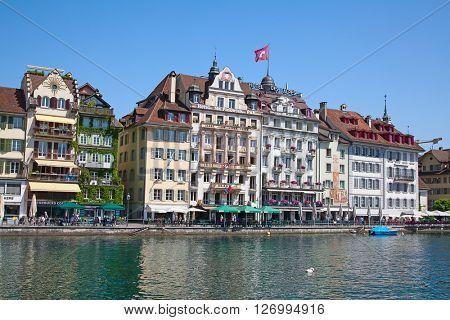 LUZERN - JUNE 8: View of historical center of the Luzern city on June 8, 2015 in Luzern, Switzerland.