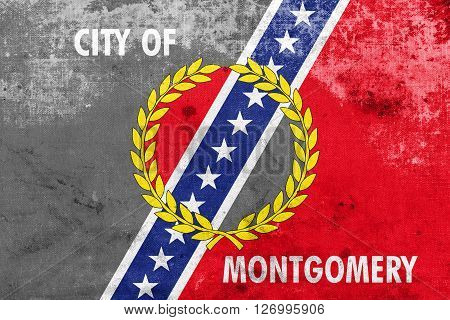Flag Of Montgomery, Alabama, With A Vintage And Old Look