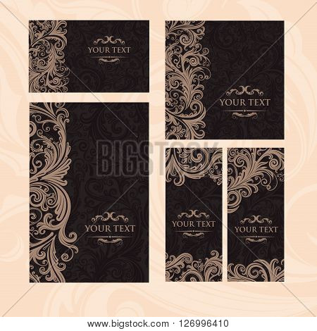 Premium royal vintage victorian set of templates dark brown floral classic background vector elegant design for restaurant menu, book cover, invitation, flyers, brochure, wall paper, backdrops
