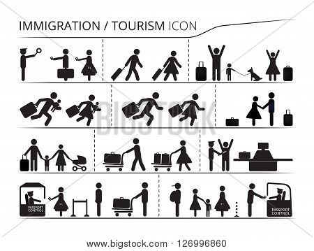 The set of icons on the theme of immigration and tourism. Illustration created with black white colours. Emigrant / Refugee series