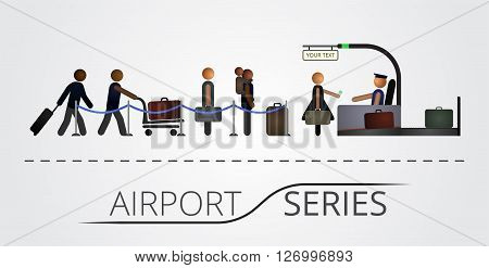 The people stand in a queue for the flight registration desk. Airport series. Illustration includes icon of people and registration desk contruction. Airport series