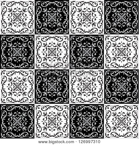 Hand drawing seamless  pattern for tile in black and white colors. Italian majolica style. Vector illustration. The best for your design, textiles, posters