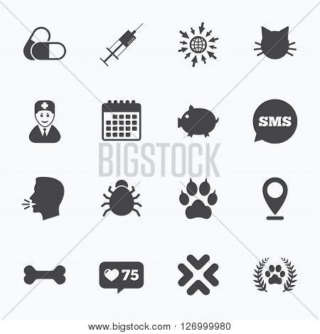 Calendar, go to web and like counter. Veterinary, pets icons. Paw, syringe and bone signs. Pills, cat and doctor symbols. Sms speech bubble, talk symbols.