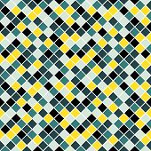 Seamless pattern made of colorful blue yellow and blue rhombuses with white lining poster