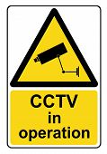 An illustration of a CCTV in operation yellow warning sign poster
