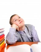 Lazy and Bored Schoolboy Isolated on the White Background poster