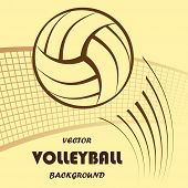 Abstract yellow volleyball silhouette with background and text. eps10 poster
