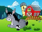 Lying donkey near small farm - vector illustration. poster