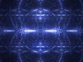 fractal rendering of blue lines and curves on black poster