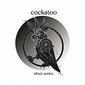 Cockatoo. Vector cockatoo icon in a circle. Concept image of decorative bird. Modern trend - linear design. Illustration cockatoo logo sign symbol object of nature. Series black white and silver. poster