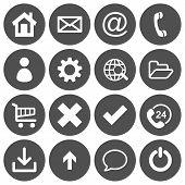 Set of 16 basic flat icons on gray round background poster