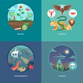 Education and science concept illustrations. Botany, zoology, oceanography and ufology . Science of life and origin of species. Flat vector design banner. poster