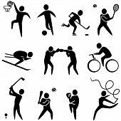 Set of sports icons: basketball soccer hockey tennis skiing boxing wrestling cycling golf baseball gymnastics. Vector illustration poster