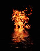 furious raging flames red fire black background poster