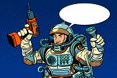 Astronaut with a drill and flashlight pop art retro style. Repair equipment poster