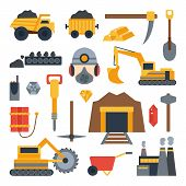 Vector illustration with mining icons. Cute cartoon mining objects. Industrial mining equipment metallurgy factory. Coal mining icons. Mineral diamond gold factory. Mining tools and machinery poster