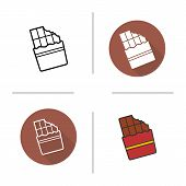Chocolate bar flat design, linear and color icons set. Wrapped bitten sweet chocolate bar. Confectionery product. Long shadow logo concept. Isolated chocolate vector illustration. Infographic elements poster