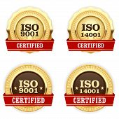 Golden medals ISO 9001 certified - quality standard badge poster