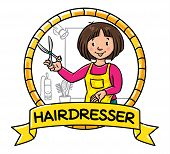 Emblem of funny woman hairdresser with scissors near the mirror and hairdress equipment in round frame with cartouche. Profession ABC series. Children vector illustration. poster