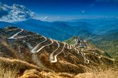 Beautiful Curvy roads on Old Silk Route Silk trading route between China and India Sikkim poster