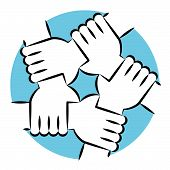 Solidarity Circle Line Art Blue. Five Hands Holding Each Other Symbolizing Unity. poster