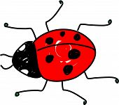 red spotted ladybug beetle isolated on white drawn in toddler art style poster