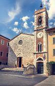 Beautiful church in San Quirico Dorcia tuscan town poster