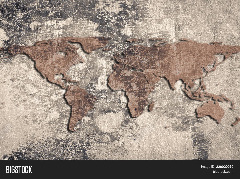 World map on cracked stone wall image photo bigstock world map on a cracked stone wall background grunge style gumiabroncs Gallery