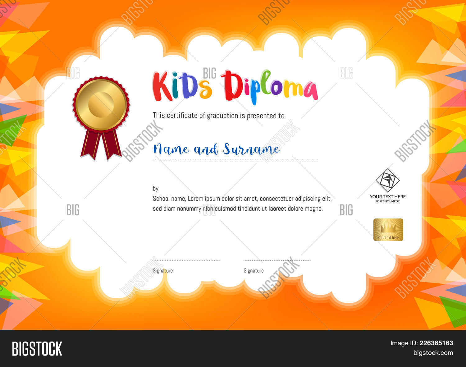 Kids summer camp diploma vector photo bigstock kids summer camp diploma or certificate template with seal space on orange background and border yelopaper Image collections